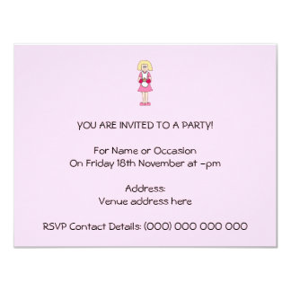 Cook in Pink and White. 11 Cm X 14 Cm Invitation Card