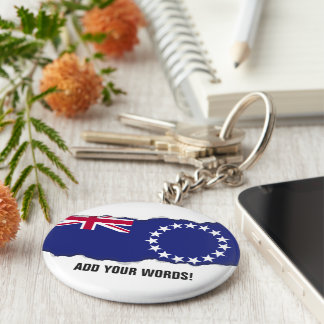 Cook Islands flag Basic Round Button Key Ring