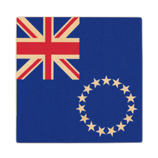 Cook Islands Flag Wood Coaster