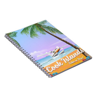 Cook Islands Vintage travel beach poster. Notebook