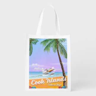 Cook Islands Vintage travel beach poster. Reusable Grocery Bag