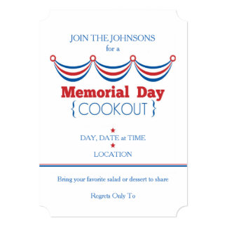 Cook Out Memorial Day Party Invitations