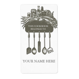 Cookbook Collection Bookplate ..grey
