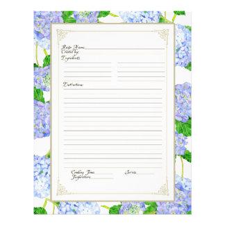 Cookbook Page Blue Hydrangea Lace Floral Formal 21.5 Cm X 28 Cm Flyer