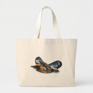 cooked mussels over white tote bag