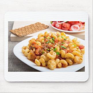 Cooked pasta cavatappi closeup mouse pad
