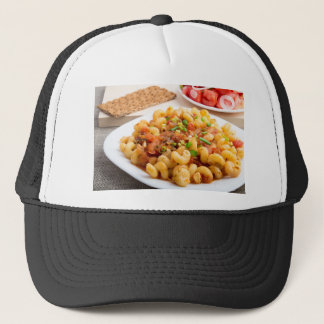 Cooked pasta cavatappi closeup trucker hat