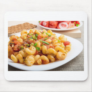Cooked pasta cavatappi with vegetables sauce mouse pad