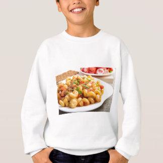 Cooked pasta cavatappi with vegetables sauce sweatshirt