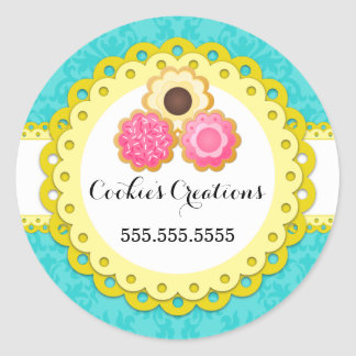 Cookie Bakery Damask Yellow Scallop Seals