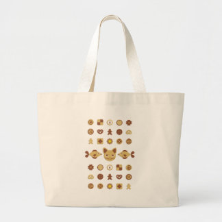 Cookie (Cookie cat and fish) of cat and fish Jumbo Tote Bag