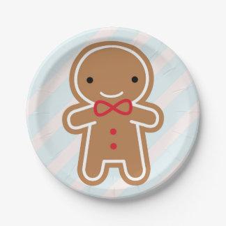 Cookie Cute Kawaii Gingerbread Man 7 Inch Paper Plate