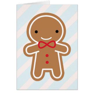 Cookie Cute Kawaii Gingerbread Man Greeting Card