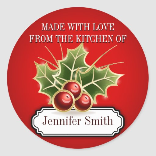 Cookie Exchange Baking Gift label with Holly Berry Round Stickers