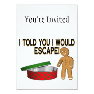 Cookie Gingerbread Man Escape 5x7 Paper Invitation Card