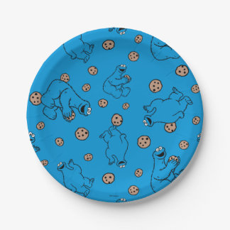 Cookie Monster and Cookies Blue Pattern 7 Inch Paper Plate