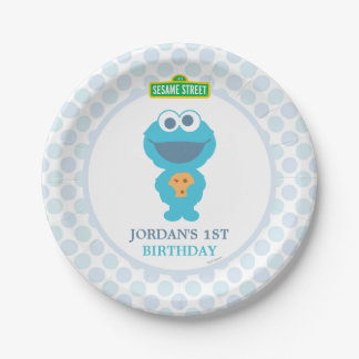 Cookie Monster Baby Birthday Paper Plate