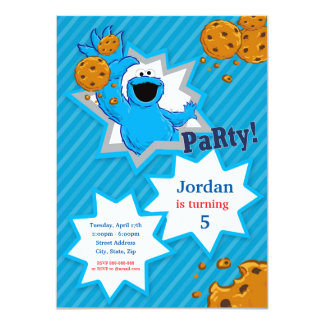 Cookie Monster Birthday 11 Cm X 16 Cm Invitation Card