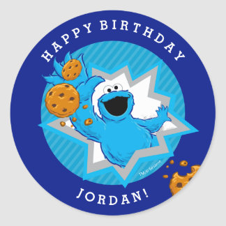 Cookie Monster Birthday Round Sticker