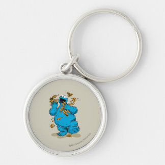 Cookie Monster Crazy Cookies Silver-Colored Round Key Ring