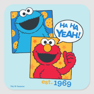 Cookie Monster & Elmo | Ha Ha Yeah Square Sticker