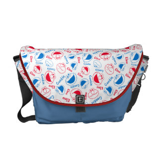 Cookie Monster & Elmo | Red & Blue Pattern Courier Bag