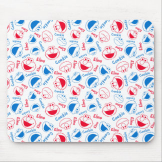 Cookie Monster & Elmo | Red & Blue Pattern Mouse Pad