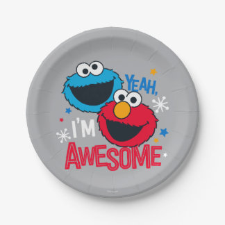 Cookie Monster & Elmo | Yeah, I'm Awesome Paper Plate