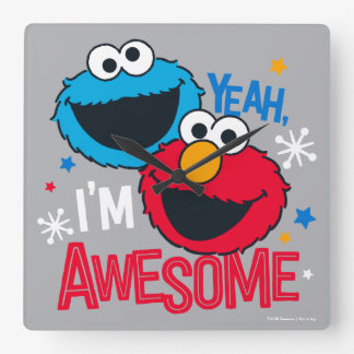 Cookie Monster & Elmo | Yeah, I'm Awesome Square Wall Clock