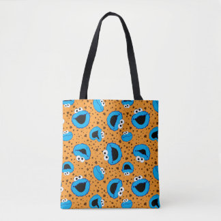 Cookie Monster on Cookie Pattern Tote Bag