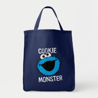 Cookie Monster Pattern Face Grocery Tote Bag