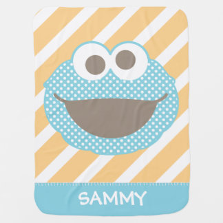 Cookie Monster Polka Dot Face | Add Your Name Baby Blanket