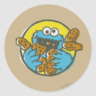 Cookie Monster Retro Classic Round Sticker