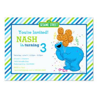 Cookie Monster Striped Birthday 13 Cm X 18 Cm Invitation Card