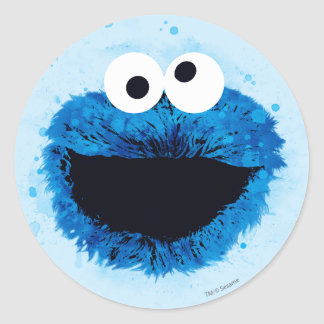Cookie Monster | Watercolor Trend Classic Round Sticker