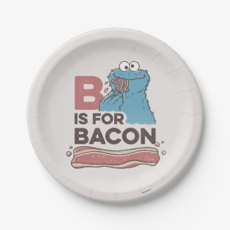 Cookie MonsterB is for Bacon 7 Inch Paper Plate