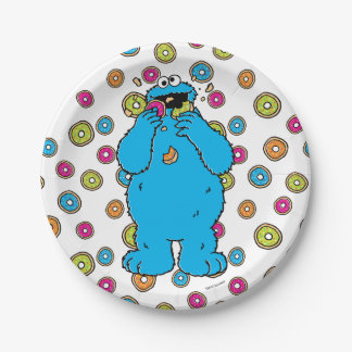 Cookie MonsterDonut Destroyer 7 Inch Paper Plate