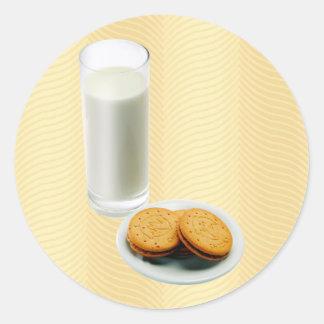 Cookies and Milk Round Sticker