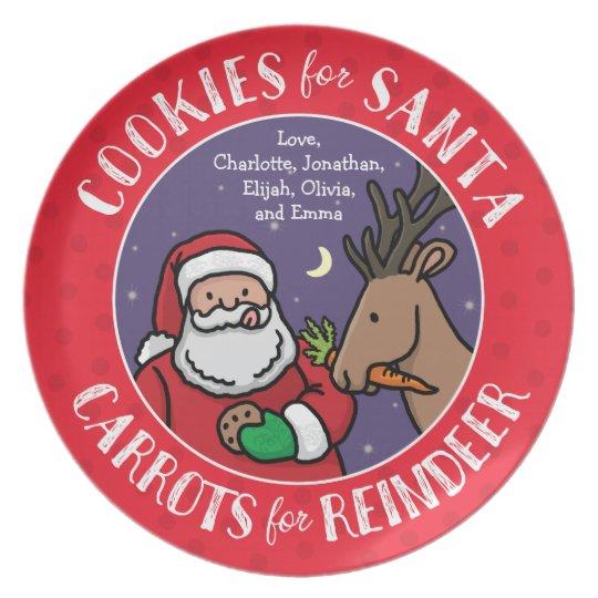 Cookies For Santa, Carrots Reindeer, Personalised Plate