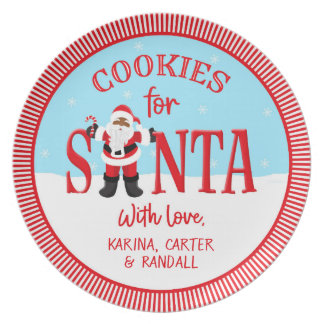 Cookies for Santa - Ethnic - Personalised Plate