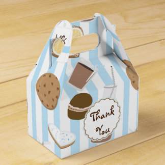 Cookies & Milk Blue Birthday Party Favor Boxes Favour Box