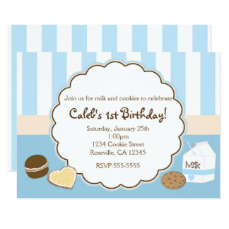 Cookies & Milk Blue Birthday Party Invitations