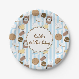 Cookies & Milk Blue Boys Birthday Party Plates