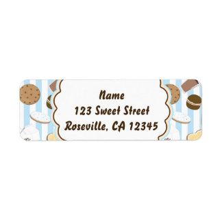 Cookies & Milk Blue Boys Party Address Label