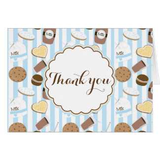 Cookies & Milk Party Blue Fold Thank You Card