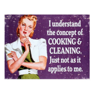 Cooking and Cleaning Post Card