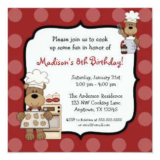 Cooking Bears Kids Birthday Party 13 Cm X 13 Cm Square Invitation Card