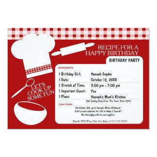 Cooking Birthday Party Recipe 13 Cm X 18 Cm Invitation Card