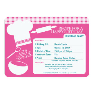 Cooking Birthday Party Recipe Pink 13 Cm X 18 Cm Invitation Card