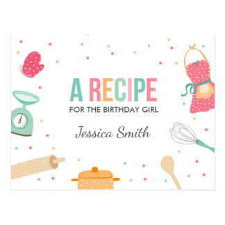 Cooking birthday Recipe card baking party Kitchen